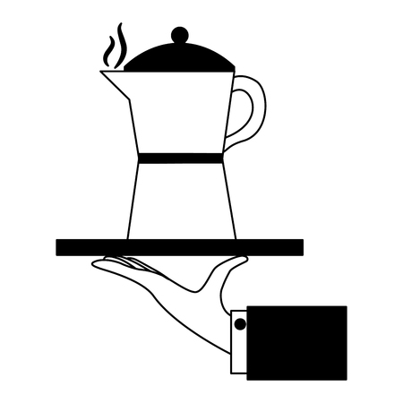 hand holding coffee maker on tray vector illustration black and white black and white