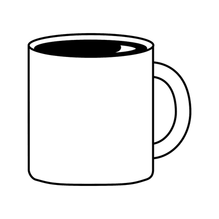coffee cup ceramic beverage fresh vector illustration black and white black and white