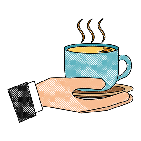 hand holding hot coffee cup on dish vector illustration drawing