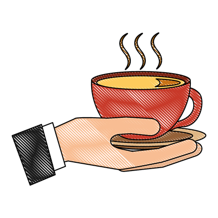 hand holding hot coffee cup on dish vector illustration drawing Banque d'images - 102505477