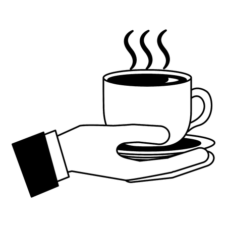 hand holding hot coffee cup on dish vector illustration black and white black and white Banque d'images - 102476880