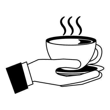 hand holding hot coffee cup on dish vector illustration black and white black and white Banque d'images - 102476883