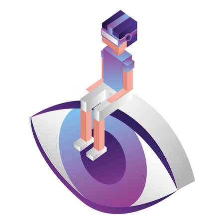 futuristic man sitting in eye isometric avatar vector illustration design