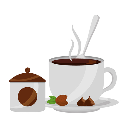 delicious coffee cup with seeds and sugar pot vector illustration design Ilustrace