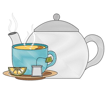 teapot porcelain and cup spoon lemon utensil vector illustration drawing