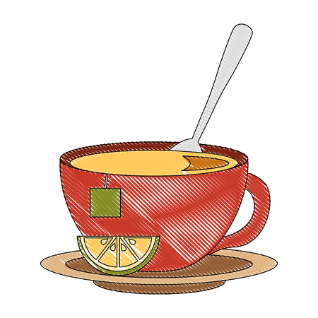 tea cup hot with spoon leaves bag on dish vector illustration drawing