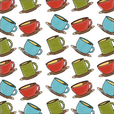 colored many coffee cups beverage pattern vector illustration drawing