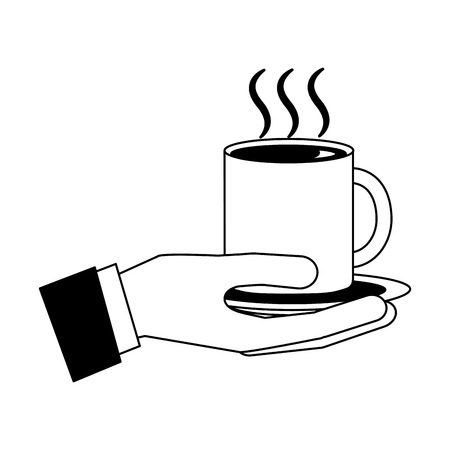 hand holding hot coffee cup on dish vector illustration black and white black and white