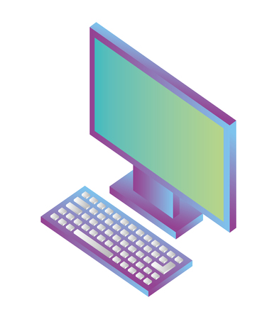 desktop computer isometric icon vector illustration design