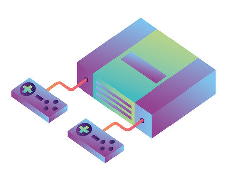 video game console isometric vector illustration design