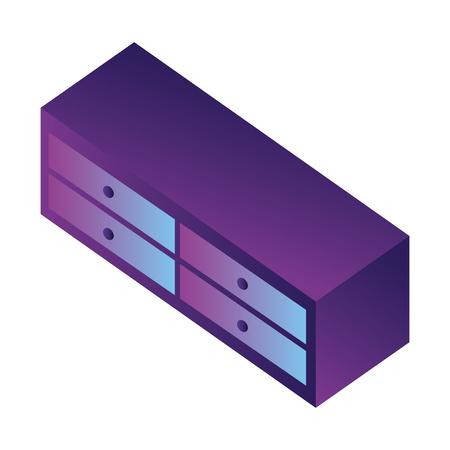 wooden cabinet isometric icon vector illustration design Archivio Fotografico - 102505630
