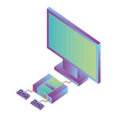 video game console with tv isometric vector illustration design Ilustração