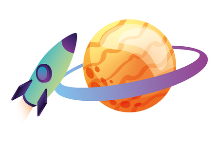 rocket flying with saturn planet isometric vector illustration design