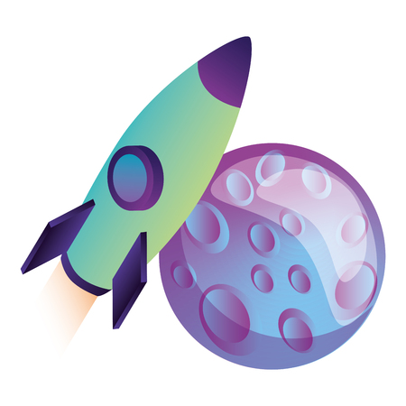 rocket flying with planet isometric vector illustration design