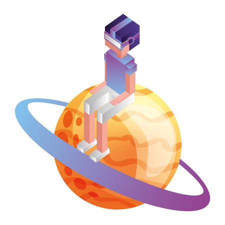 futuristic man with saturn planet isometric avatar vector illustration design Illustration