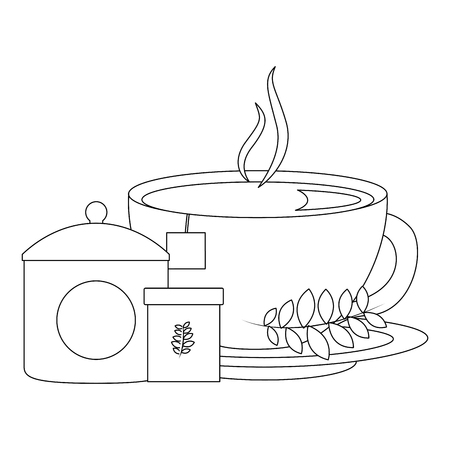 delicious herbs tea set icons vector illustration design