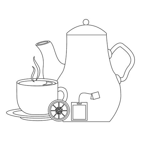 delicious lemon tea set icons vector illustration design
