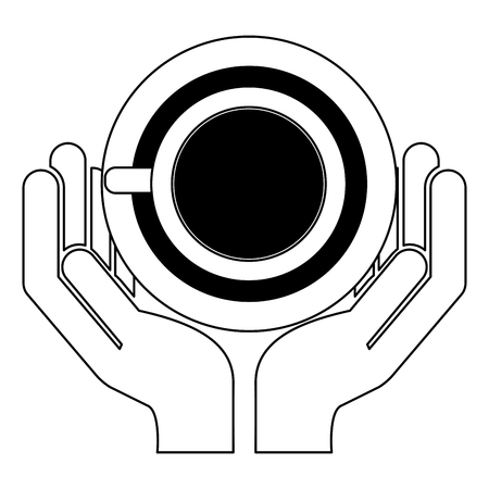 hands with delicious coffee cup vector illustration design