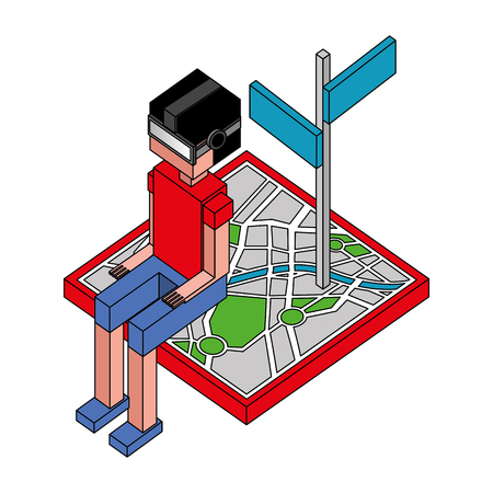 boy using vr goggles sitting on navigation map isometric vector illustration