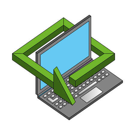 laptop computer technology 360 degree arrow vector illustration