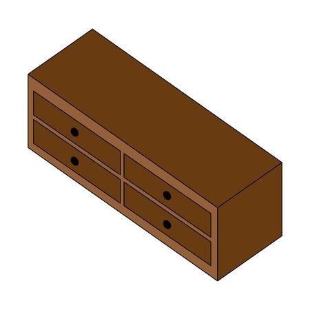 wooden furniture cabinet drawers decoration vector illustration Ilustração