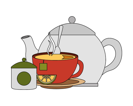 teapot cup spoon and bowl sugar lemon vector illustration