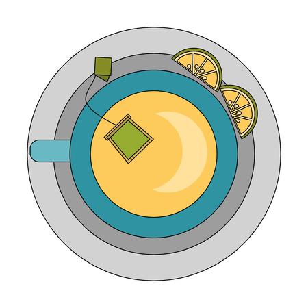 top view tea cup teabag and lemon on dish vector illustration Illustration