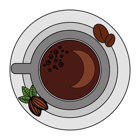 top view coffee cup and bean nuts cocoa on saucer vector illustration Foto de archivo - 102515257