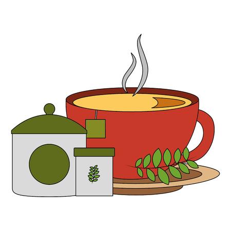 hot tea cup fresh beverage sugar teabag and mint leaves vector illustration