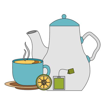 tea pot and cup lemon and teabag vector illustration