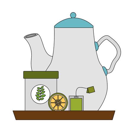 tea pot lemon and tea bag container on tray vector illustration