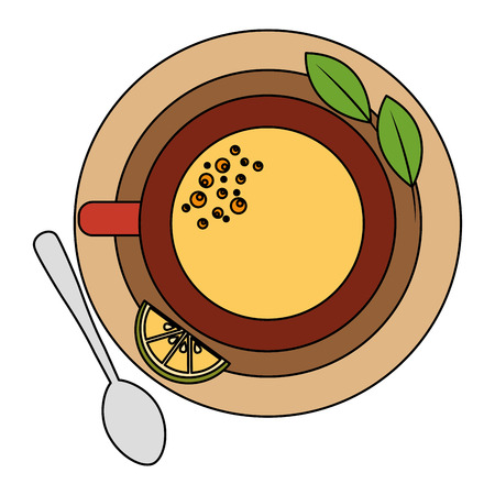 top view tea cup and lemon spoon mint on dish vector illustration Çizim