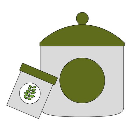 plastic container tea bag with cap kitchenware vector illustration Vektorové ilustrace
