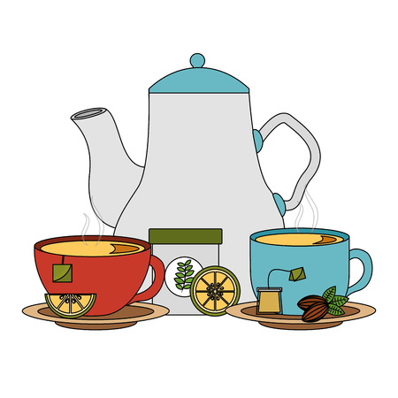 tea pot and cups with lemon and tea bags vector illustration