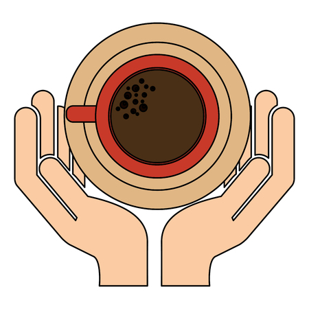 hand holding coffee cup with dish vector illustration Illustration