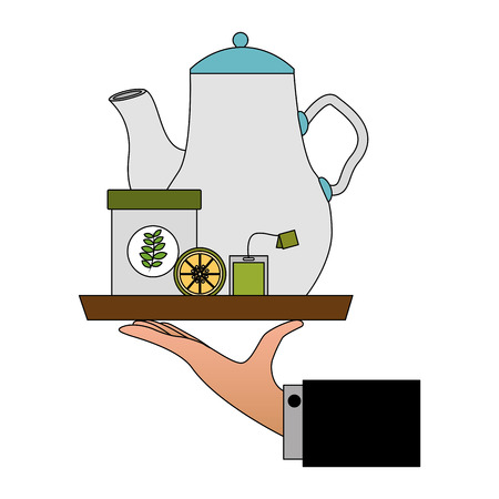 hand holding teapot and bowl lemon in tray vector illustration