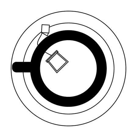 top view tea cup with teabag on dish vector illustration