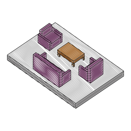 living room scene isometric icon vector illustration design  イラスト・ベクター素材