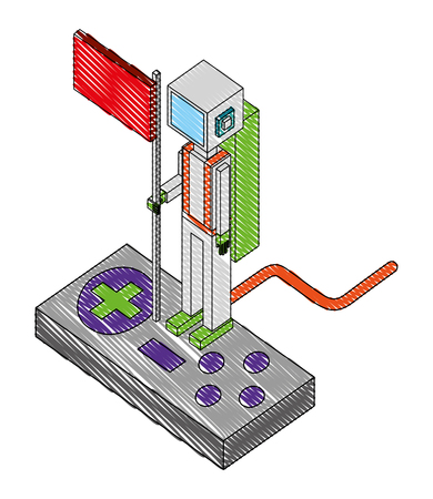 game control with avatar isometric vector illustration design