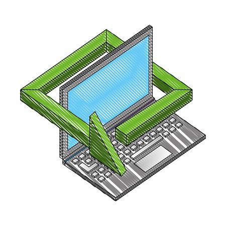 laptop computer with arrow isometric icon vector illustration design Foto de archivo - 102490969