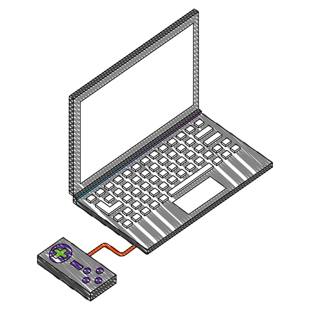 laptop computer with game control isometric icon vector illustration design Illustration