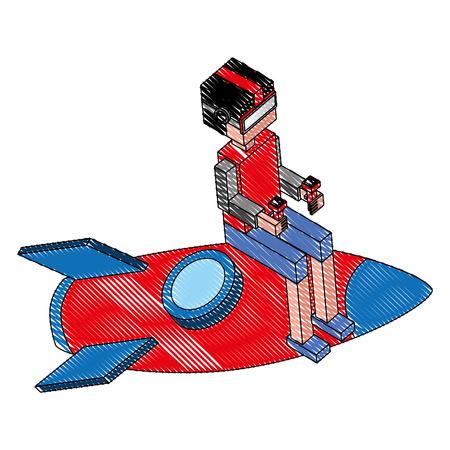 futuristic man with rocket isometric avatar vector illustration design