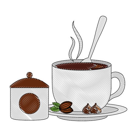 delicious coffee cup with seeds and sugar pot vector illustration design
