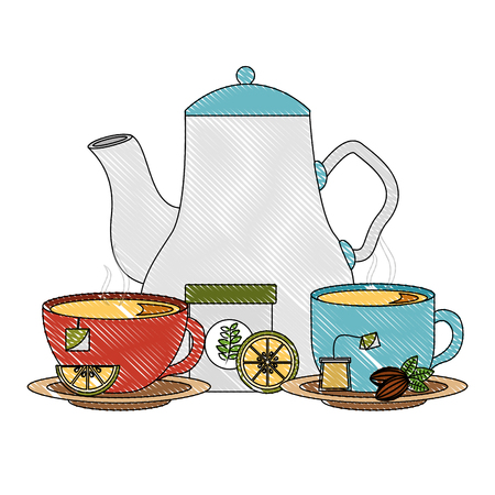delicious lemon tea set icons vector illustration design Illustration