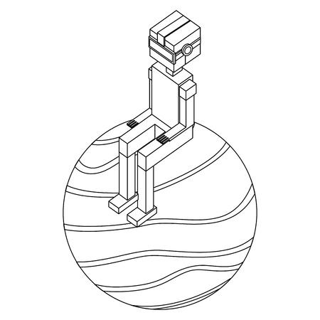 futuristic man with planet isometric avatar vector illustration design