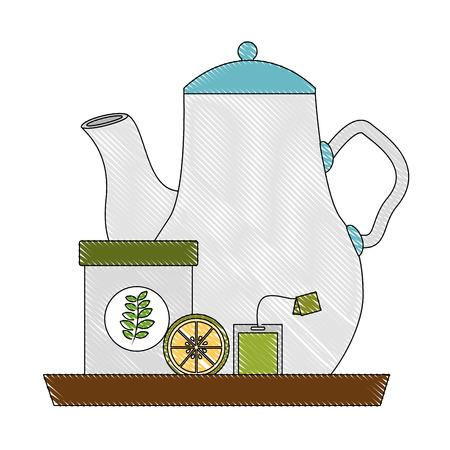 delicious lemon tea set icons vector illustration design  イラスト・ベクター素材