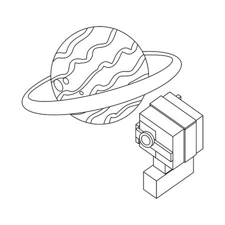 futuristic man with saturn planet isometric avatar vector illustration design Çizim