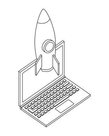 laptop computer with rocket isometric icon vector illustration design