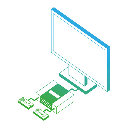 video game console with tv isometric vector illustration design Stock fotó - 102491081