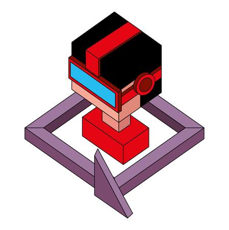 boy using vr goggles 360 degree design vector illustration